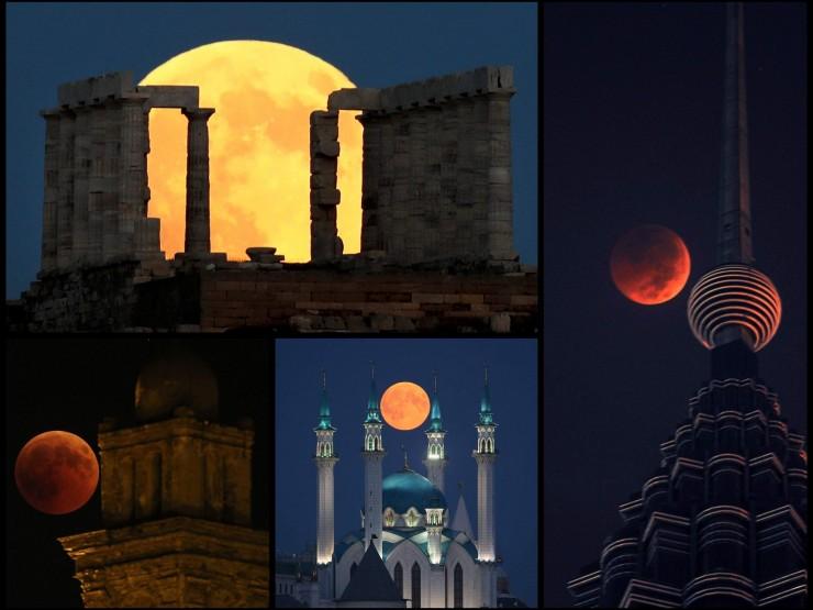 """როგორ ჩანდა """"სისხლიანი მთვარე"""" მსოფლიოს სხვადასხვა ქალაქიდან - შთამბეჭდავი ფოტოები"""