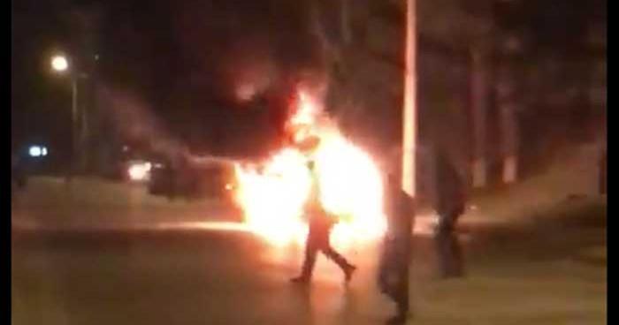 თბილისში, გლდანში მანქანა აფეთქდა (ფოტო)