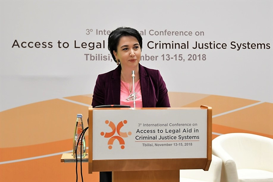 """ეკა ბესელიამ საერთაშორისო კონფერენციის - """"იურიდიული დახმარების ხელმისაწვდომობა სისხლის მართლმსაჯულების სისტემებში"""" მონაწილეებს სიტყვით მიმართა"""