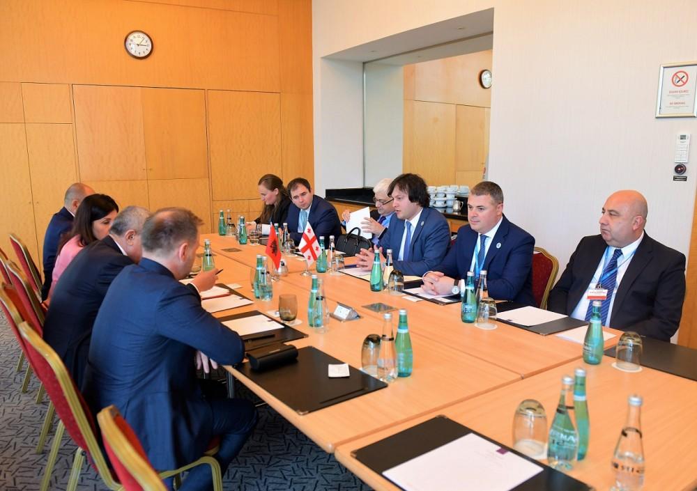 ირაკლი კობახიძე ალბანეთის რესპუბლიკის პარლამენტის თავმჯდომარეს შეხვდა