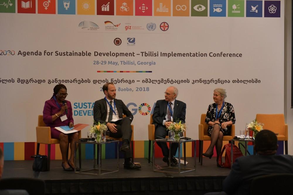 2030 წლის მდგრადი განვითარების დღის წესრიგთან დაკავშირებით გამართული კონფერენციის პირველ პლენარულ სესიაზე იმპლემენტაციის პროცესში არსებულ გლობალურ და ეროვნულ გამოწვევებსა და გამოცდილებებზე იმსჯელეს