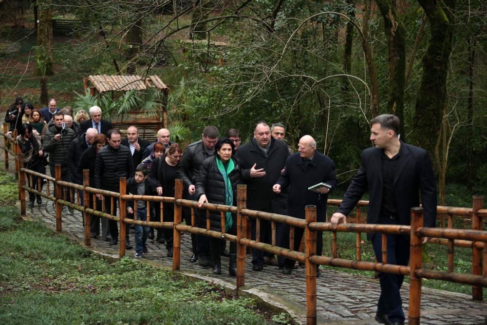 """პრეზიდენტმა ქუთაისში ბოტანიკური ბაღი და ,,რიონჰესის"""" ერთ-ერთი ნაგებობა დაათვალიერა"""