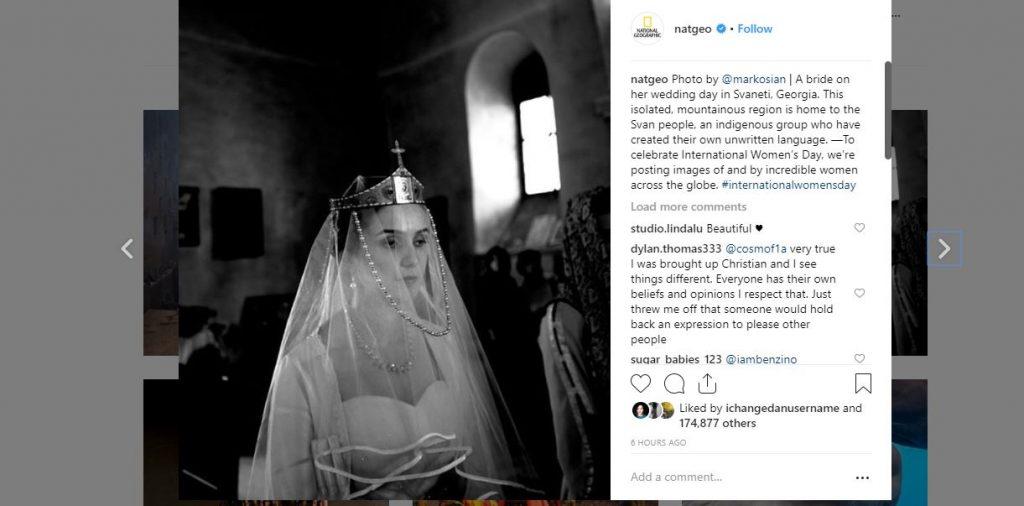 """სვანეთში გადაღებული პატარძლის ფოტო - """"ნეიშენალ ჯეოგრაფიკმა"""" გამორჩეული ფოტოები გამოაქვეყნა"""