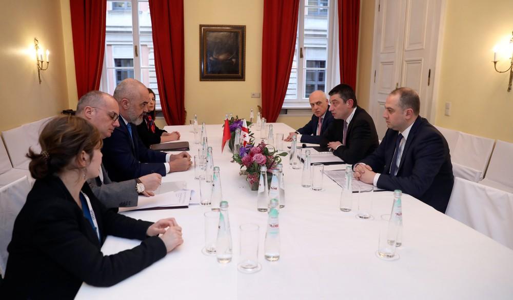 საქართველოს პრემიერ-მინისტრი ალბანელ კოლეგას შეხვდა