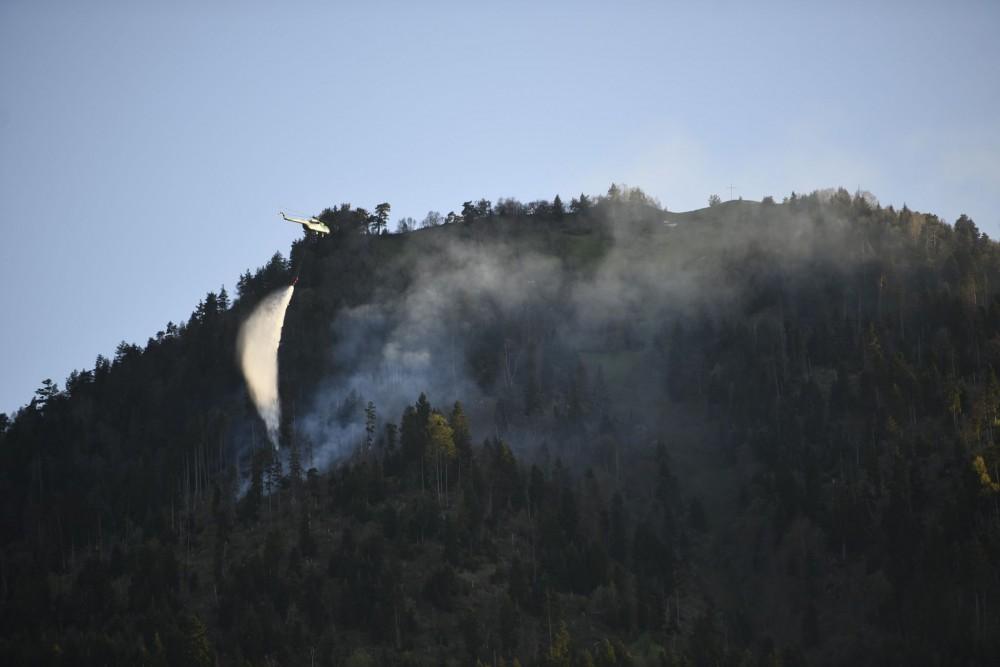ბორჯომის ხეობაში ხანძარია - ცეცხლის ქრობის პროცესში ვერტმფრენიც ჩაერთო