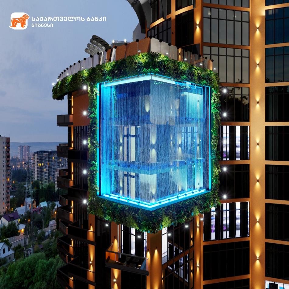 """საქართველოს ბანკის ფინანსური მხარდაჭერით ხუთვარსკვლავიანი სასტუმრო """"Tbilisi  Waterfall"""" აშენდება"""