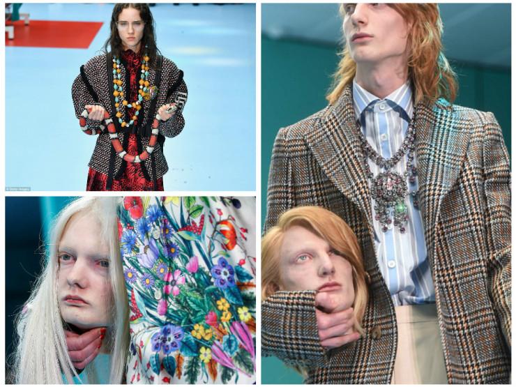 Gucci-ს მოდელები ადამიანის თავებითა და გველებით ხელში (ფოტოები)