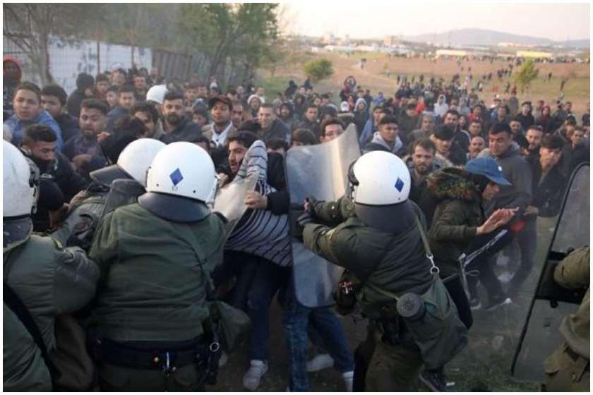საბერძნეთში პოლიციასა და მიგრანტებს შორის შეტაკება მოხდა