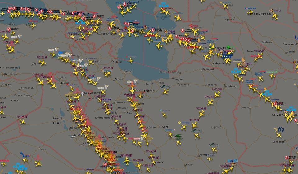 საერთაშორისო ავიაკომპანიების ნაწილმა ირანის ნაცვლად, საქართველოს საჰაერო სივრცის გამოყენება დაიწყო