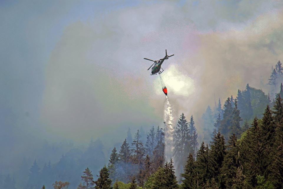 ლენტეხის ტყეში ხანძრის ჩაქრობას ვერტმფრენიც ცდილობს