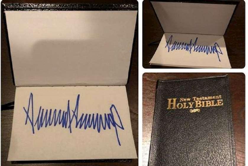 ტრამპის მიერ ხელმოწერილი ბიბლია აუქციონზე გაიყიდა