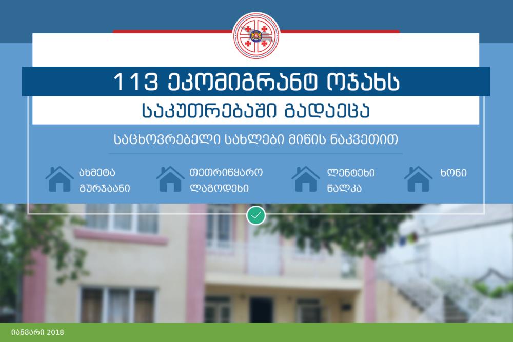 საცხოვრებელი ფართი საკუთრებაში კიდევ 113 ეკომიგრანტ ოჯახს გადაეცა