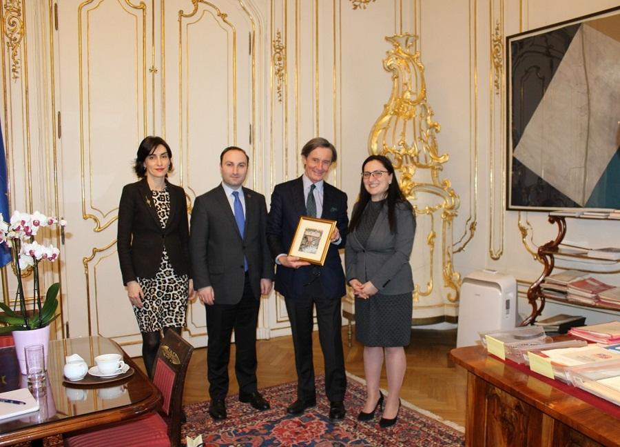სოფო კილაძე და ანრი ოხანაშვილი ავსტრიის რესპუბლიკის მთავრობის სპიკერს შეხვდნენ